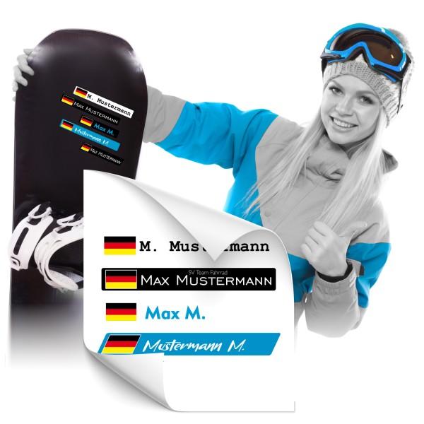 Namensaufkleber für Snowboard Snowboardsticker - Kategorie Shop