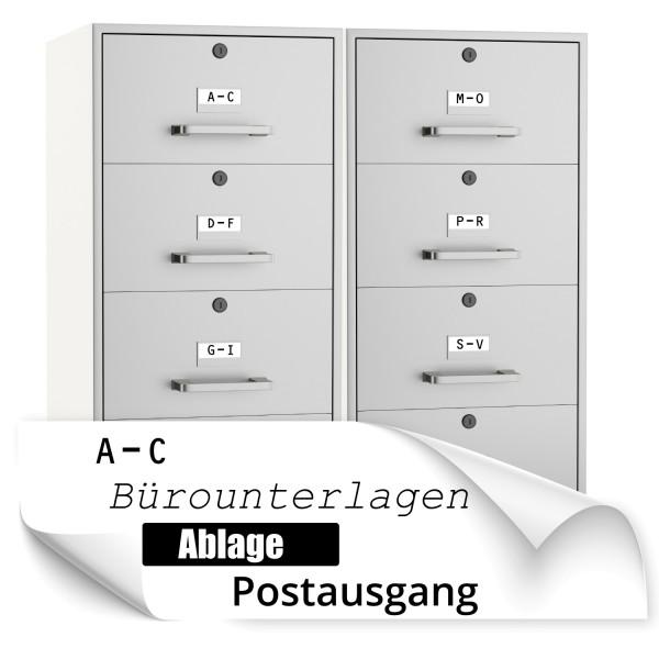 Beschriftung für Aktenschränke / Schubladen Beschriftungsaufkleber für Aktenschränke / Schubladen - Kategorie Shop